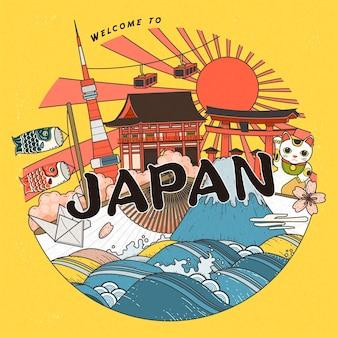 Diseño de carteles de turismo de moda en japón con atracciones.
