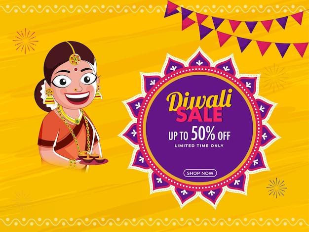Diseño de carteles de venta de diwali con oferta de descuento