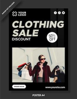 Diseño de carteles de venta de ropa.