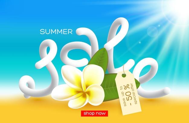 Diseño de carteles de venta de verano. flor realista con letras 3d, efecto de desenfoque de fondo soleado. ilustración.