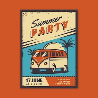 Diseño de carteles vintage de fiesta de verano