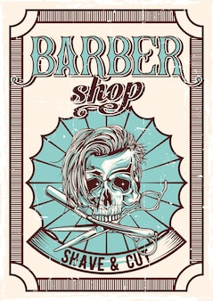 Diseño de carteles vintage de tema de barbería con ilustración de cráneo peludo, navaja de afeitar y tijeras