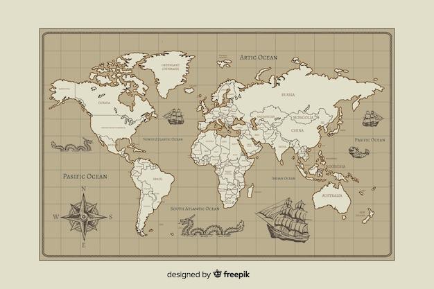 Diseño de la cartografía del mapa del mundo vintage