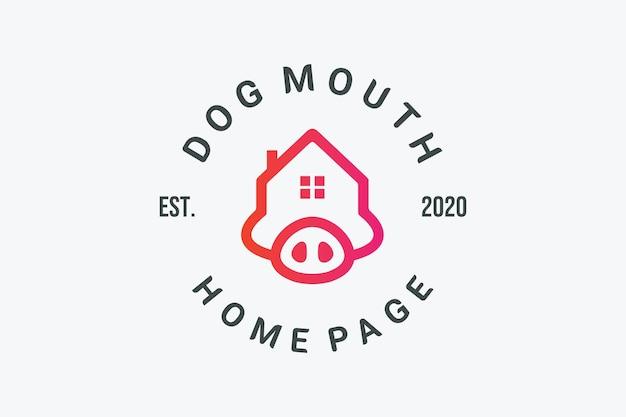 Diseño de la casa cabeza de perro bulldog