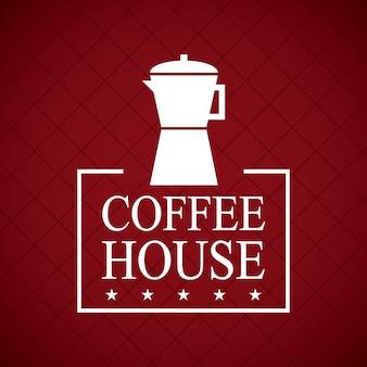 Diseño de la casa de café sobre fondo rojo vino ilustración vectorial