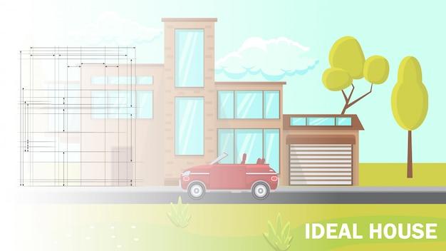 Diseño de casa ideal ilustración vectorial plana.