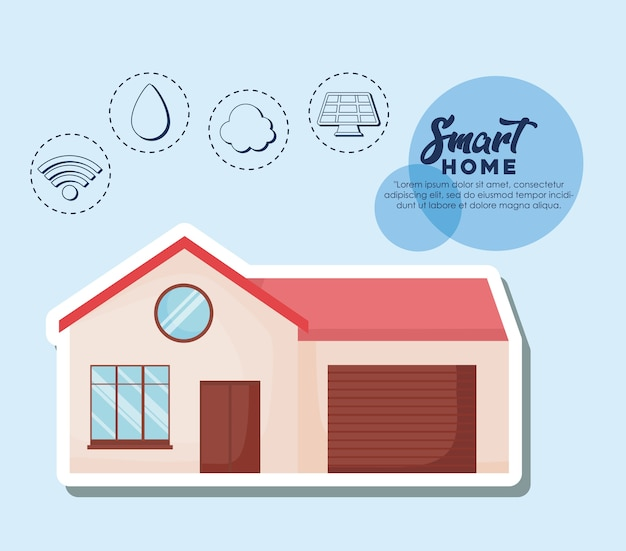 Diseño de casa inteligente con casa moderna e iconos relacionados