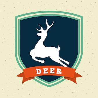 Diseño de caza sobre ilustración de vector de fondo de patrón
