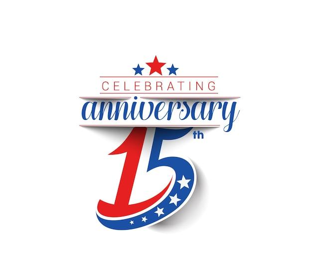 Diseño de celebración de aniversario de 15 años.