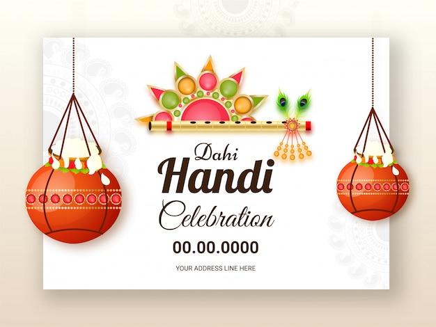 Diseño de celebración de dahi handi decorado