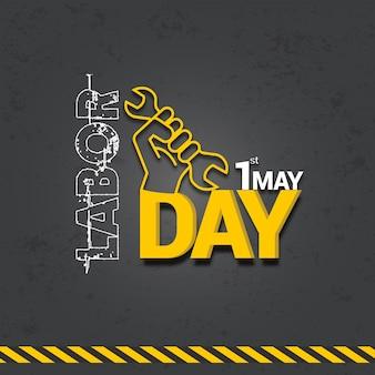Diseño de la celebración del día internacional del trabajo con texto 3d