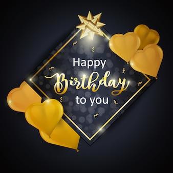 Diseño de celebración de feliz cumpleaños con marco cuadrado, globos de oro realistas en forma de corazón