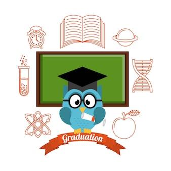 Diseño de celebración de graduación, ilustración vectorial gráfico eps10