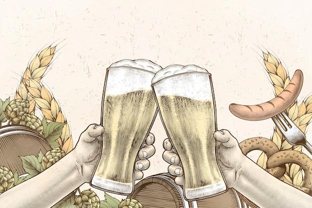 Diseño de celebración de oktoberfest en estilo grabado, manos sosteniendo vasos de cerveza y animando sobre fondo lleno de ingredientes