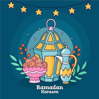 Diseño de celebración de ramadán dibujado a mano