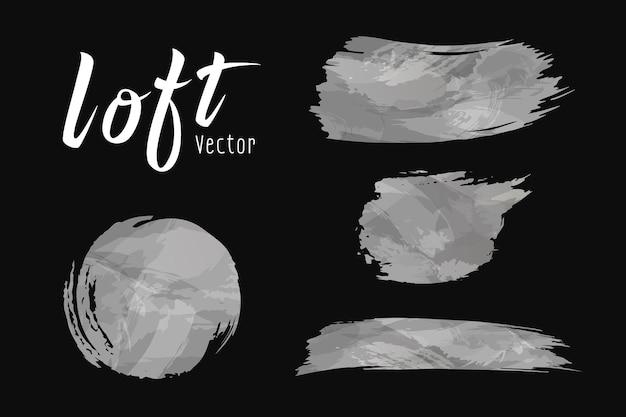 Diseño de cepillo de estilo loft de cemento de vector en la ilustración de colecciones de fondo negro