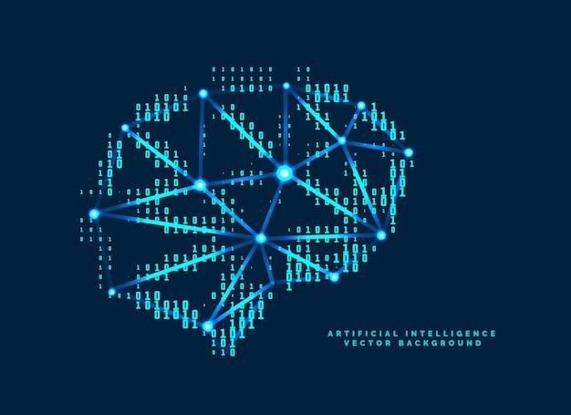 Diseño de cerebro digital con concepto de números tecnológicos