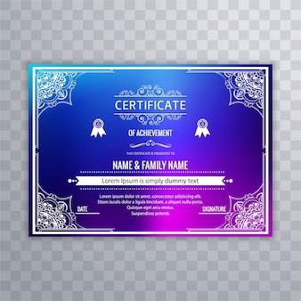 Diseño de certificado colorido