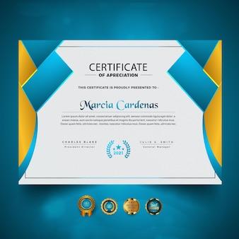 Diseño de certificado de diseño inteligente abstracto