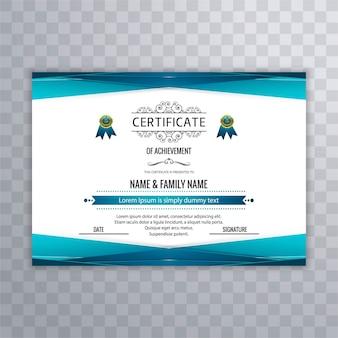 Diseño de certificado con elementos azules geométricos