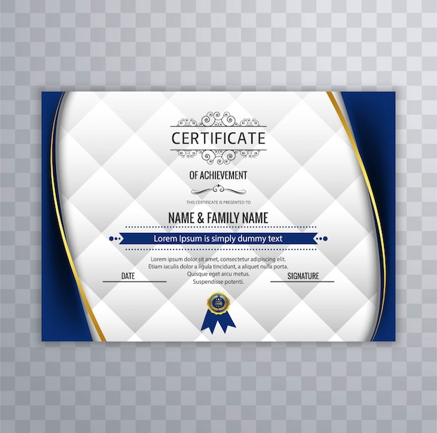 Diseño de certificado con formas onduladas azules