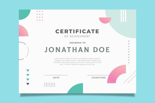 Diseño de certificado oficial con efecto memphis