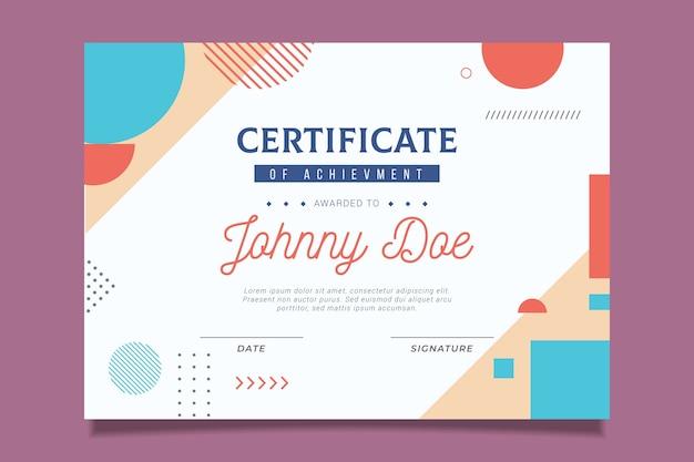 Diseño de certificado oficial con formas coloridas.