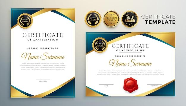 Diseño de certificado profesional en tema dorado premium.