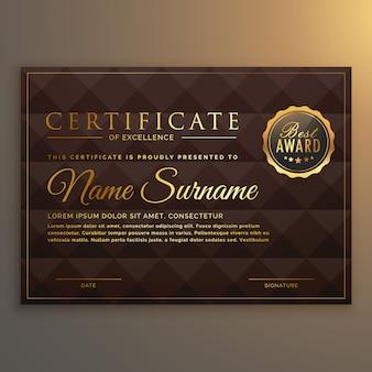 Diseño de certificado vip en color dorado con fondo de forma de diamante