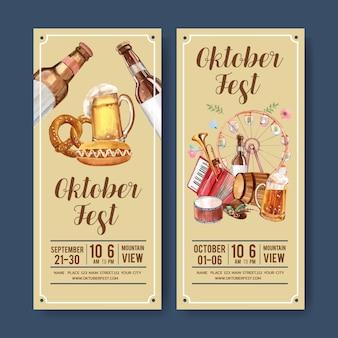 Diseño de cerveza, salchichas y volantes musicales.