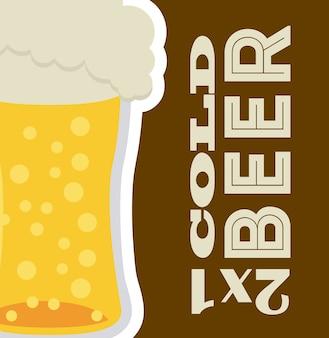 Diseño de cerveza sobre fondo marrón ilustración vectorial
