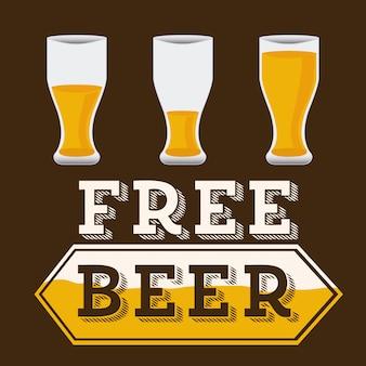 Diseño de cerveza sobre marrón, cerveza gratis