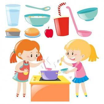 Diseño de chicas cocinando
