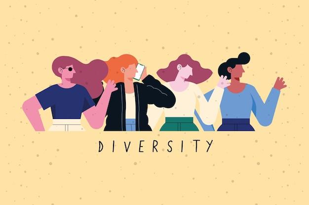 Diseño de chicas de diversidad