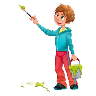 Diseño de chico pintando