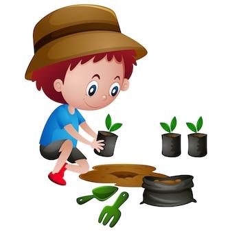 Diseño de chico plantando