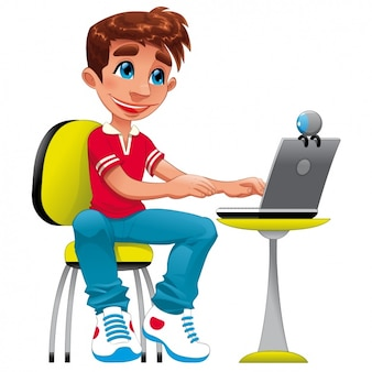 Diseño de chico con un portátil