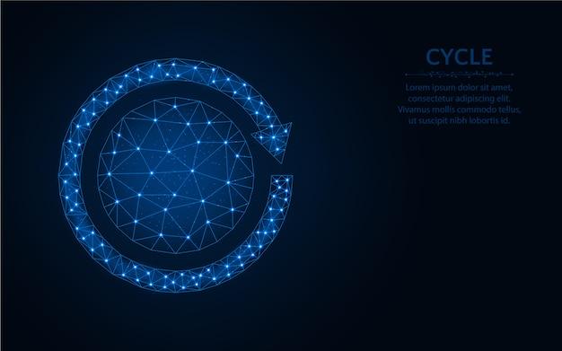 Diseño de ciclo bajo poli, ilustración de vector poligonal de malla de alambre de rotación