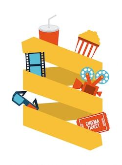Diseño de cine sobre fondo blanco ilustración vectorial