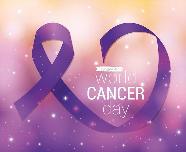Diseño de cinta morada, día mundial del cáncer, cuatro de febrero, campaña de concientización, prevención de enfermedades y tema de fundación