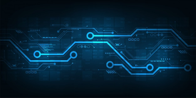 Diseño de circuitos digitales sobre un fondo azul oscuro.