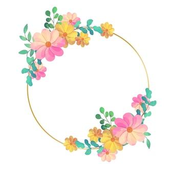 Diseño circular de marco floral de boda