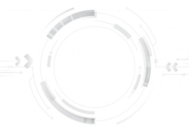 Diseño de círculo de tecnología abstracta sobre fondo blanco.