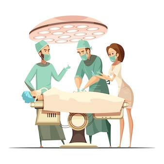 Diseño de cirugía en estilo retro de dibujos animados con lámpara operativa, personal médico y paciente en mesa