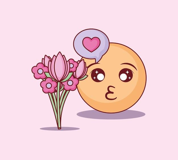 Diseño de citas en línea con beso emoji y ramo de flores