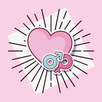 Diseño de citas en línea con símbolos de corazón y género