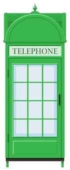 Diseño clásico de cabina telefónica en color verde.