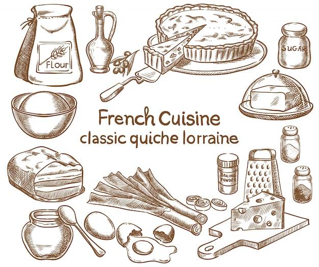 Diseño clásico de la receta de quiche lorraine