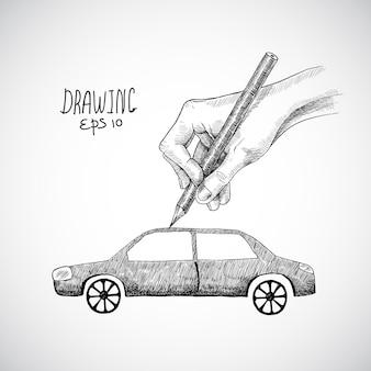 Diseño de coche dibujado a mano