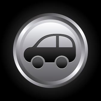 Diseño de coche sobre fondo negro ilustración vectorial